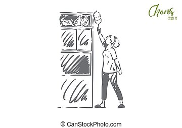 Housekeeping concept sketch. Isolated vector illustration