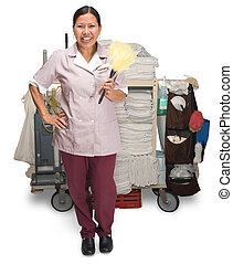 Housekeeping - Female hotel maid with housekeeping cart...