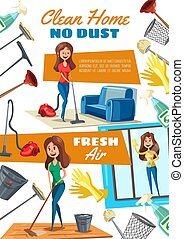 Housekeeping, home cleaning and washing windows