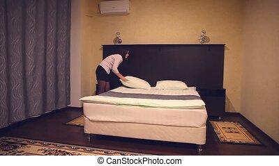 housekeeping hotel maid, woman, people working girl in spa...