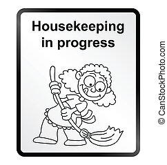 Housekeeping Information Sign - Monochrome comical...
