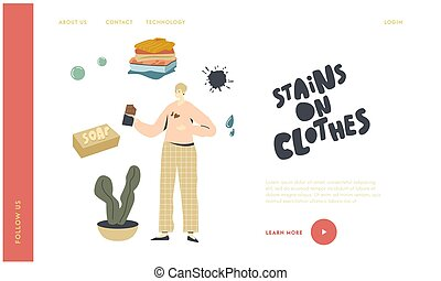 Housekeeping Landing Page Template. Sloppy Female Character ...