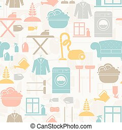 Housekeeping Seamless Pattern - Seamless pattern of house...