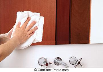 Housekeeping - Wiping mirror