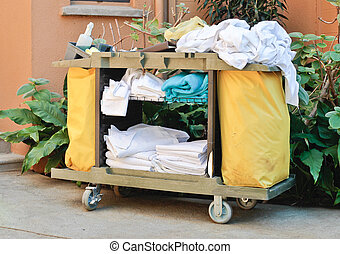 Housekeeping trolley - A housekeeping trolley at a tropical...
