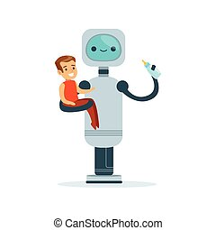 Housemaid baby sitter robot with child vector Illustration