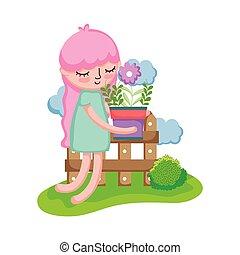 houseplant, 女の子, キャンプ, 持ち上がること, フェンス