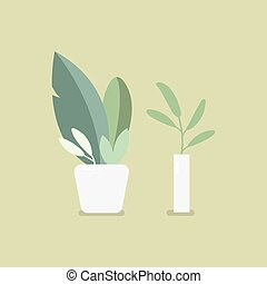 Houseplant in pot. Flat style vector illustration