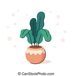 Houseplant in pot - Potted house plant drawing in modern...