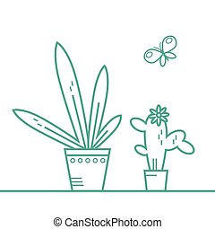 houseplant line - Simple vector bright flat linear...