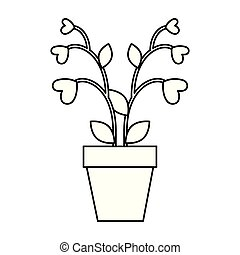 houseplant with hearts icon vector illustration design