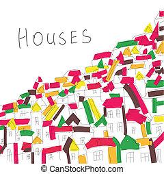 houses, стиль, художественный, задний план