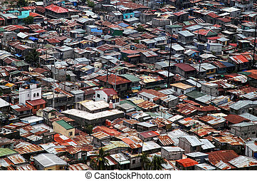 Houses - Aerial shot of crowded portion of Manila