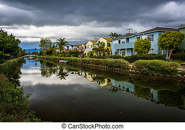Houses along a canal in Venice Beach, Los Angeles, California.
