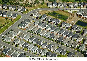 Houses along suburban roads