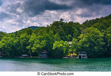 Houses along the shore of Lake Burton, in Georgia.