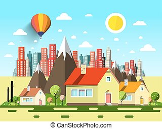 Houses and Abstract City. Vector Cartoon.