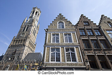 Houses and Belfort in Bruges