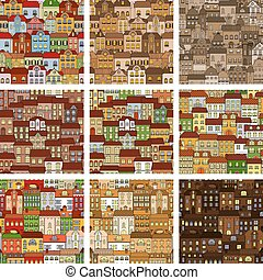 Houses and buildings seamless patterns set