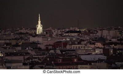 Houses and Church of La Concepcion illuminated in night...