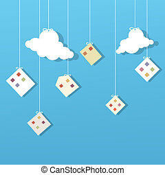 houses and clouds hanging on the cord