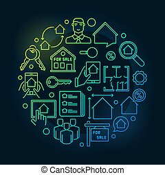 Houses and flats for sale illustration