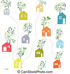 Houses and flowers seamless pattern