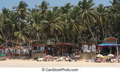 Houses and huts on the beach - Goa, India - February 17,...