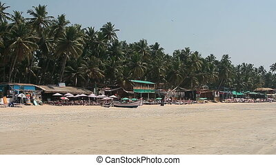 Houses and huts on the beach