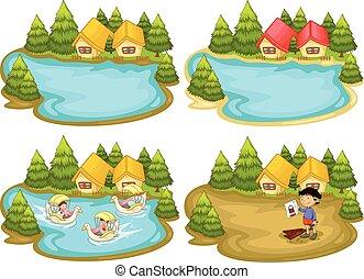 Houses and lake