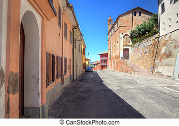 Houses and old church in Roddi, Italy.