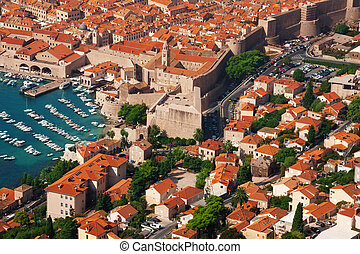 Houses and port of Dubrovnik