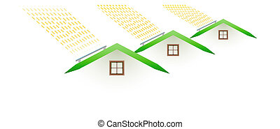 houses and smoking roofs - pollution - houses and smoking...