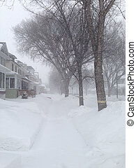 houses and snowstorm - houses in blizzard