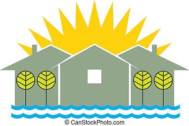 houses and sun