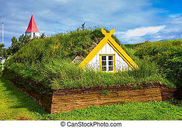 Houses are roofed by the turf and grass - Village of...
