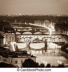 Arno River and bridges Ponte Vecchio