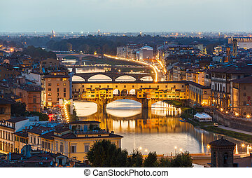 Arno River and bridges Ponte Vecchio