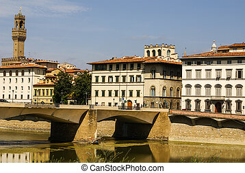 Houses, Arno River and Ponte Vecchio bridge of Florence, Tuscany, Italy