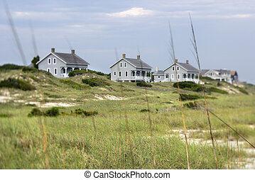 Houses at coast.