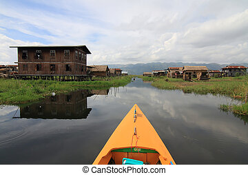 Houses at Inle lake, Myanmar