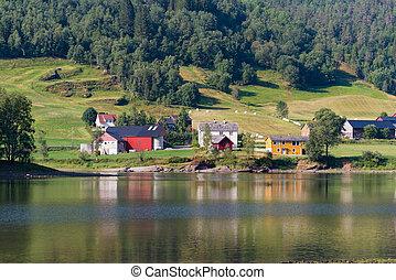 houses at lake in norway