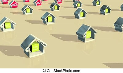 Houses Being Sold HD - Abstract animation of houses for sale...
