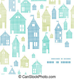 Houses blue green textile texture corner frame seamless pattern background