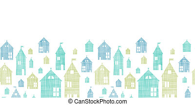 Houses blue green textile texture horizontal seamless...