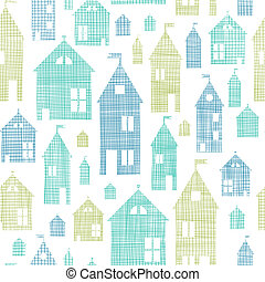 Houses blue green textile texture seamless pattern...