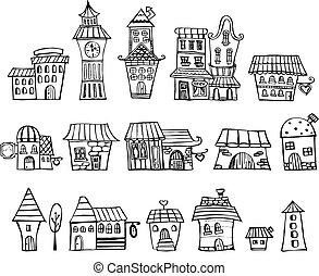 houses., cartone animato, racconto, vettore, fata, disegno