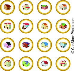 Houses cartoon icon circle