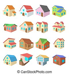 Houses cartoon icons set