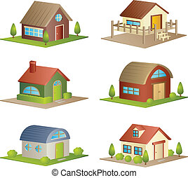 Houses - A vector illustration of a collection of different...